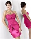 Розовое платье-коктейль с драпировкой - фото 513