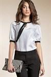 Белая блуза с рукавами фонариками - фото 608
