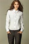 Рубашка с необычной раскладкой пуговиц - фото 634