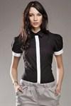 Рубашка цвета лазурь, с рукавами фонариками - фото 665