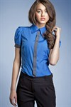 Рубашка цвета лазурь, с рукавами фонариками - фото 667